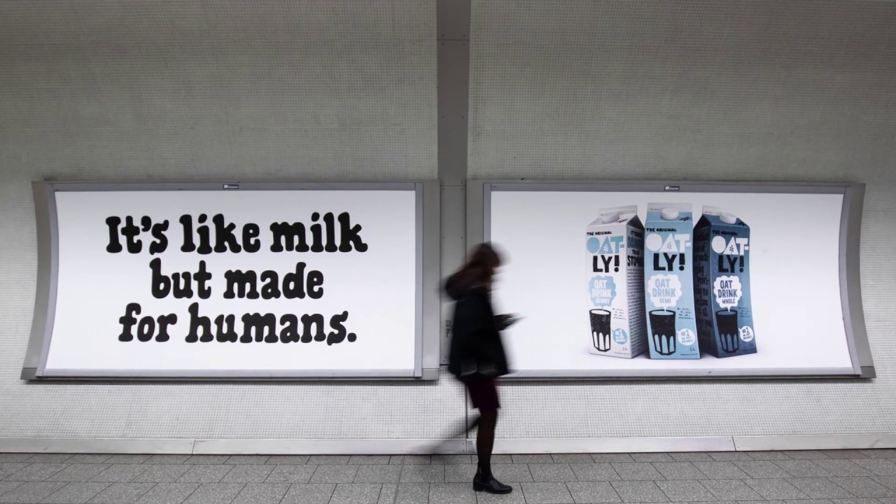 Oatly advertisment in subway station.